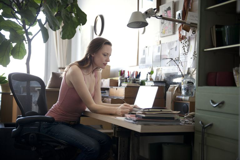 woman working from home office - Working In Home Office