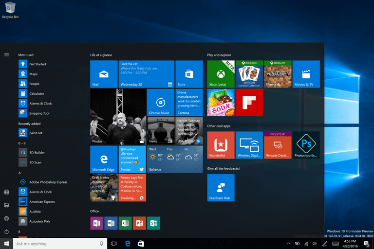 Screenshot of Windows 10