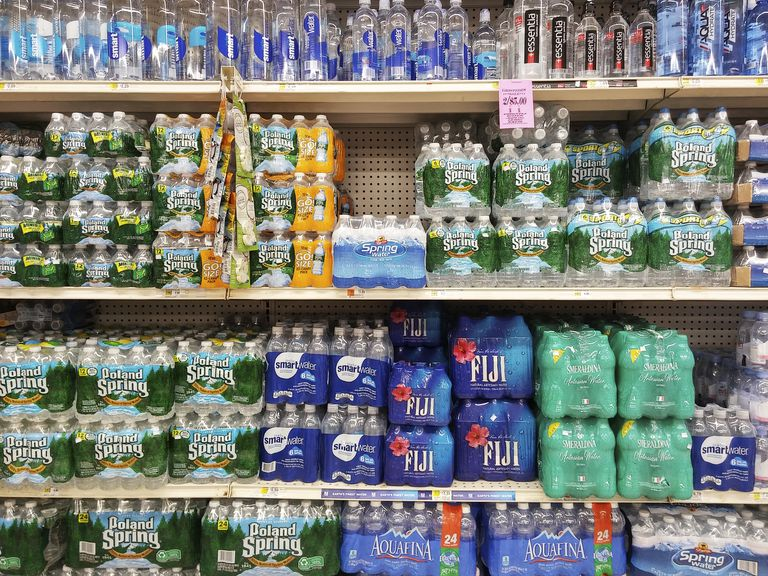 Bottled water in a supermarket in New York