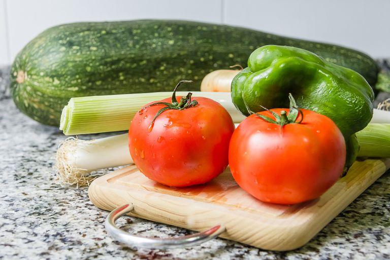granite countertop with vegetables may risk radon exposure