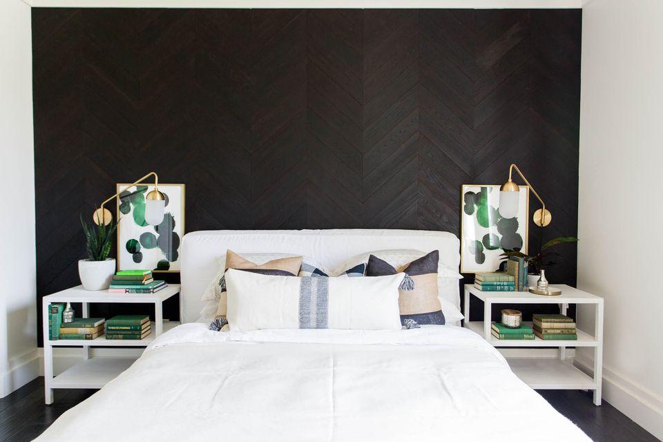 chevron black shiplap in bedroom