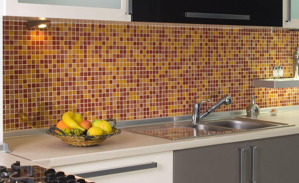 Kitchen Tile Backsplash Red and Orange 1-Inch Tile 173927007