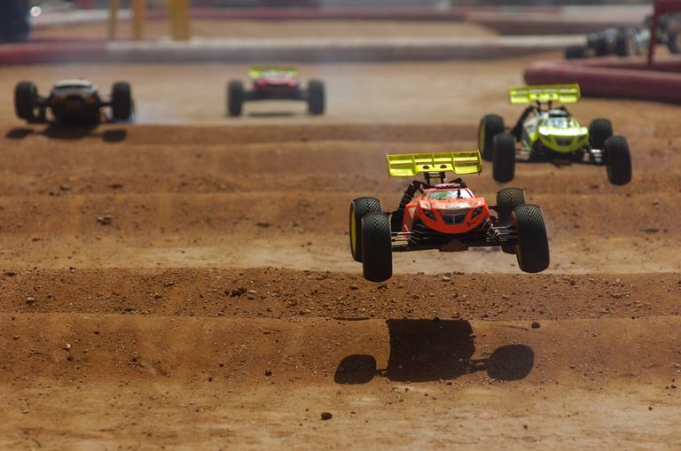 Remote Controlled Cars Racing Outdoors