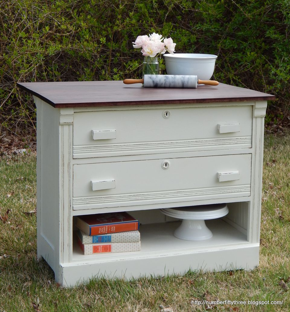 old dresser upcycled as a kitchen island