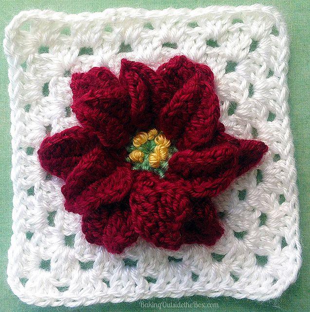 Poinsettia Granny Square Free Crochet Pattern