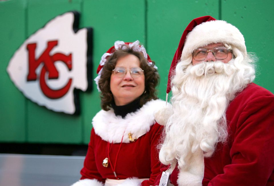 Santa and Mrs. Claus at a Chiefs game in Arrowhead Stadium.