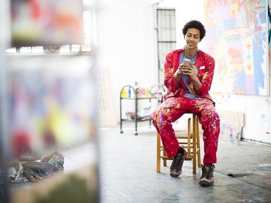 An artist in an art studio