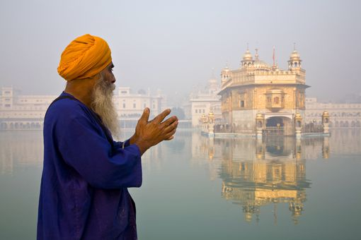 Praying near the Golden Temple in Punjab
