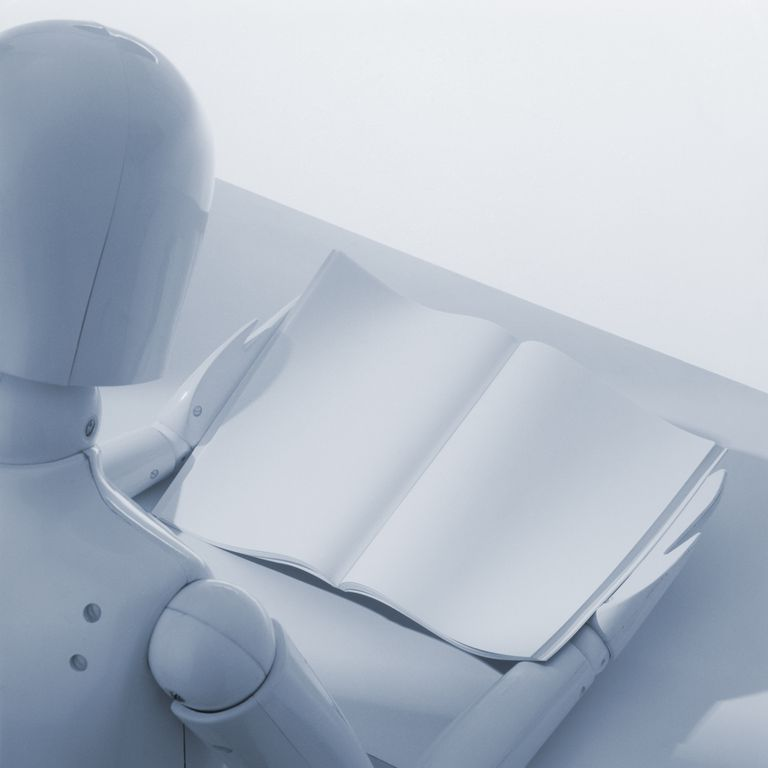 dummy reading blank page