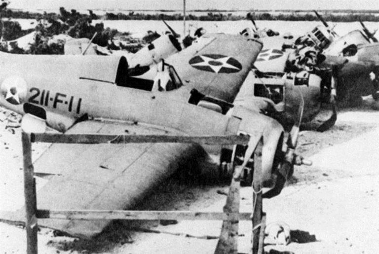 Wreckage on Wake Island, 1941
