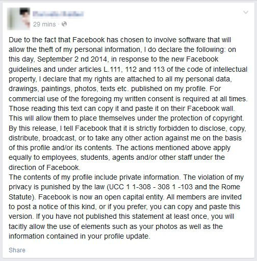 Facebook Privacy Posting
