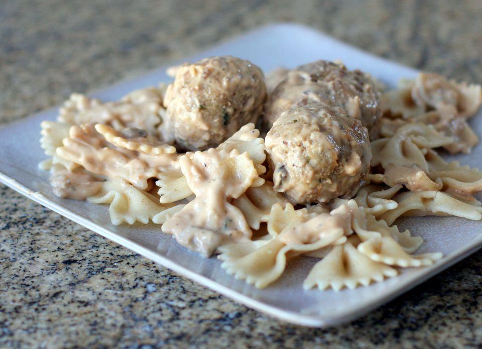 Swedish Meatballs on Farfalle