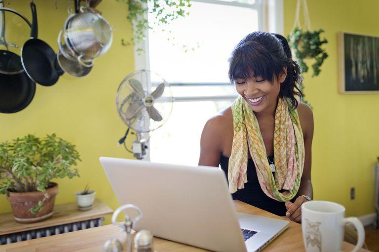 Girl browsing on laptop