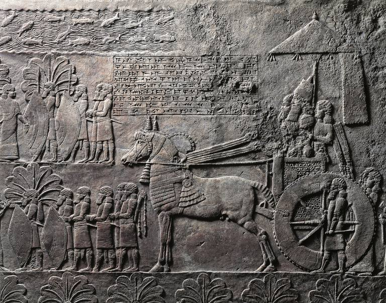 Detail of relief depicting triumph of king Ashurbanipal, from ancient Nineveh, Iraq