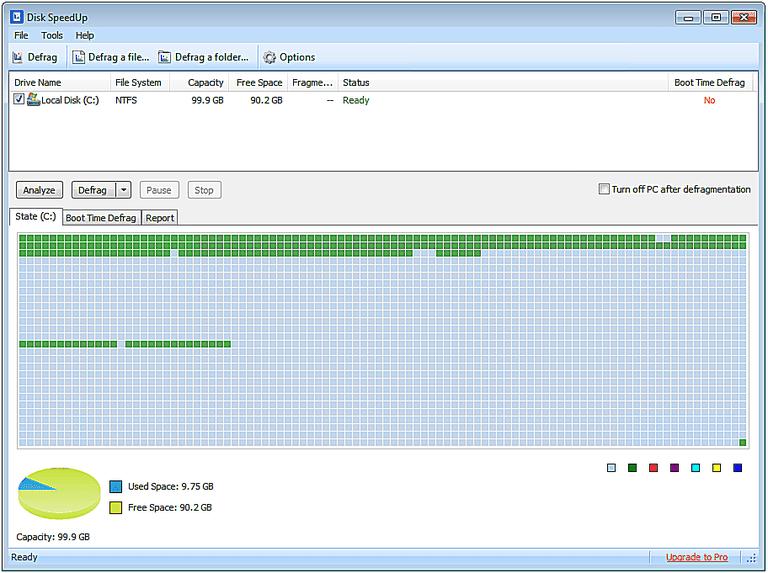 Screenshot of Disk SpeedUp v5 in Windows 7