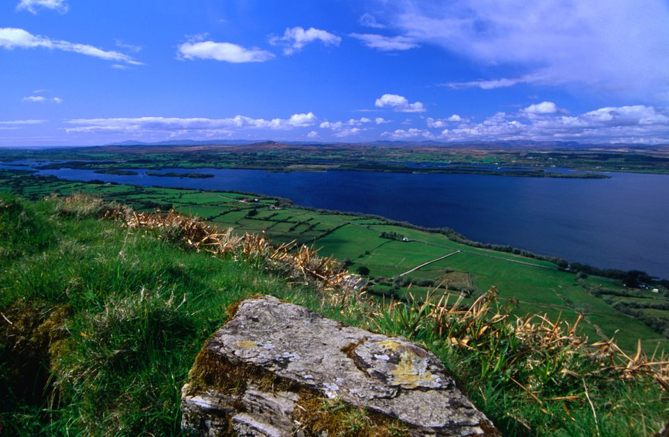 View looking over the emerald landscape of Ireland towards Lough Muckno.