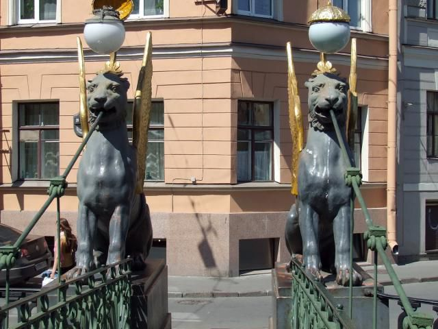Griffins on Bank Bridge of the Griboedov Canal in St. Petersburg