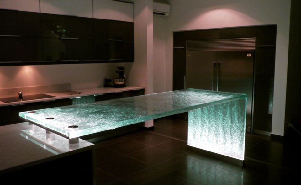 Solid Glass Kitchen Countertop