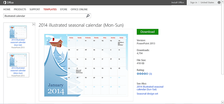 customizable calendar templates for microsoft office, Modern powerpoint