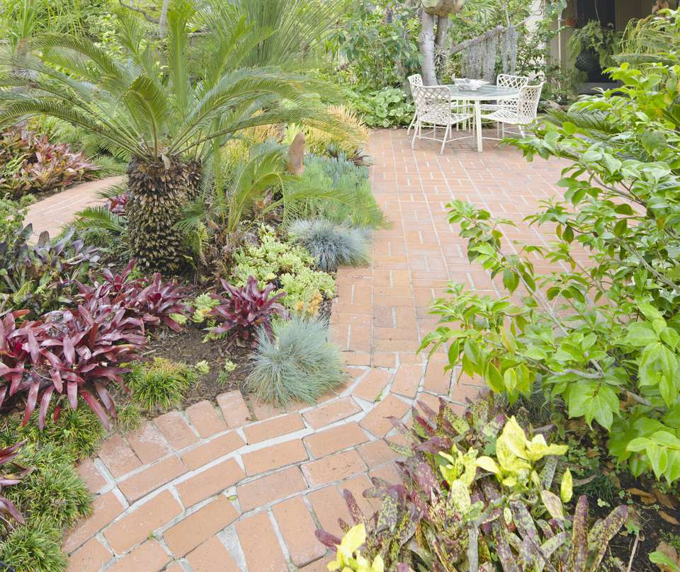 View of garden path and seating.