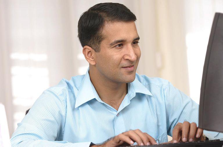 A businessman at work