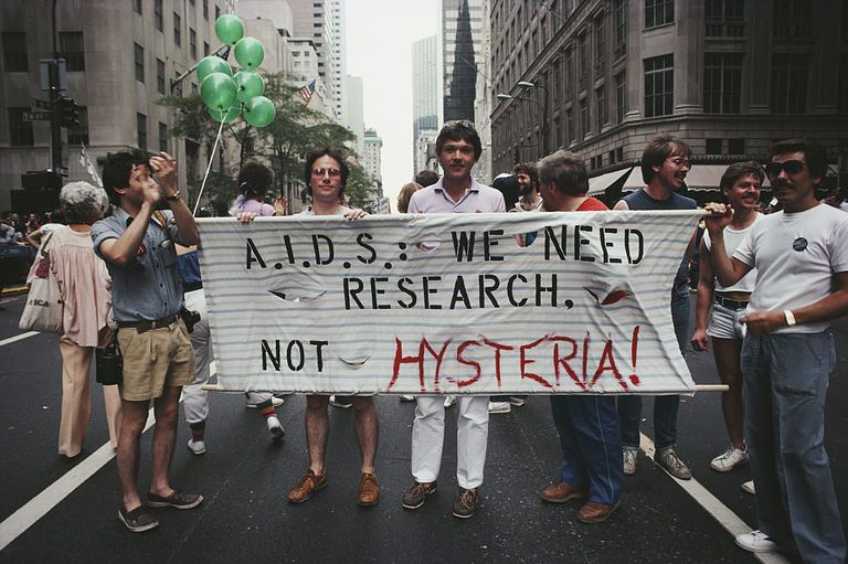 Activists at New York City's Gay Pride March in 1983 calling for increased HIV/AIDS research.