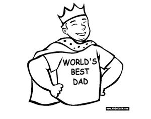 "A dad wearing a cape, crown, and a shirt that says ""World's Best Dad"""