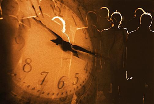 time clock with people
