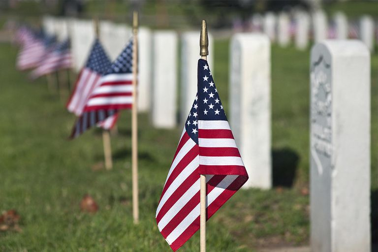 US flags on graves at a military cemetery