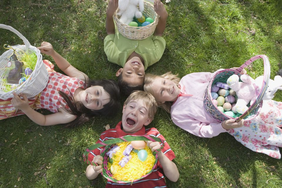 4 Kids Lying Down With Easter Basket