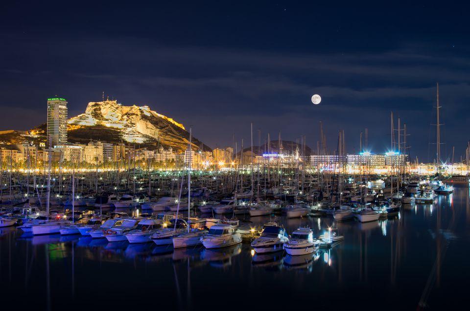Alicante port at night