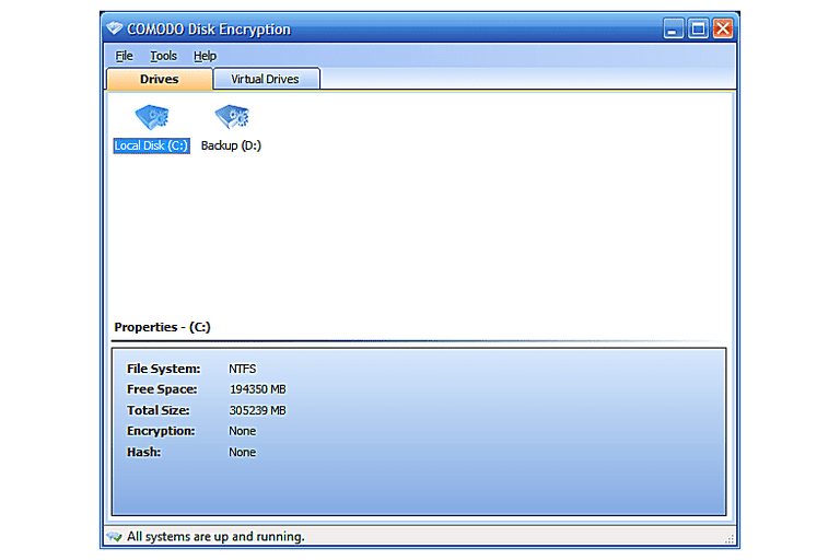 Screenshot of COMODO Disk Encryption v1.2 in Windows 7