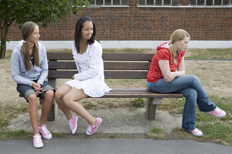 Girls bullying another girl on park bench