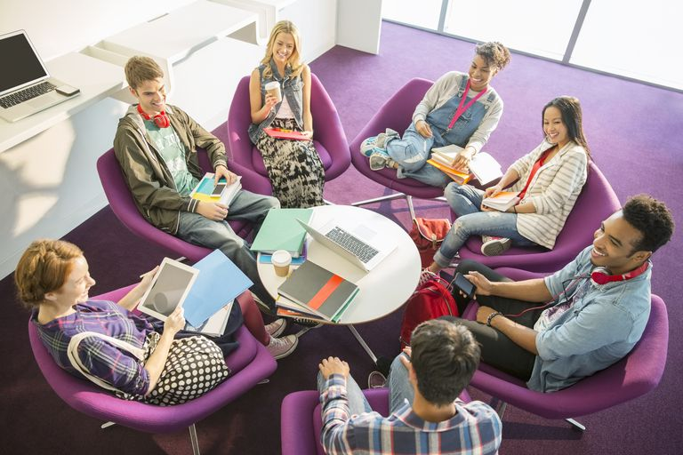 University students talking in circle