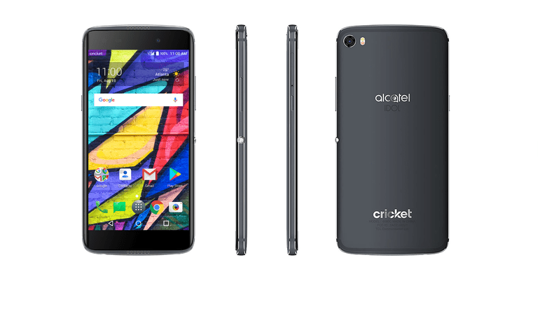 Alcatel One Touch Idol 5 smartphone, front, back, and side angle