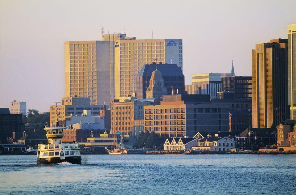 Halifax to Darthmouth Ferry in front of Halifax Waterfront, Halifax, Nova Scotia, Canada.