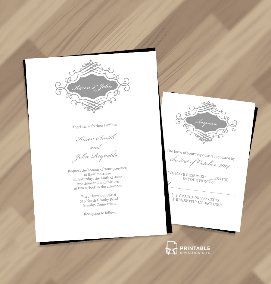 elegant monogram printable wedding invitation - Printable Wedding Invitation Kits