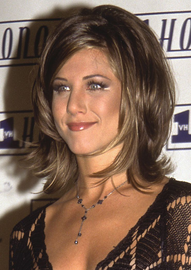 layered bob haircut aniston s best hairstyles the years 1995