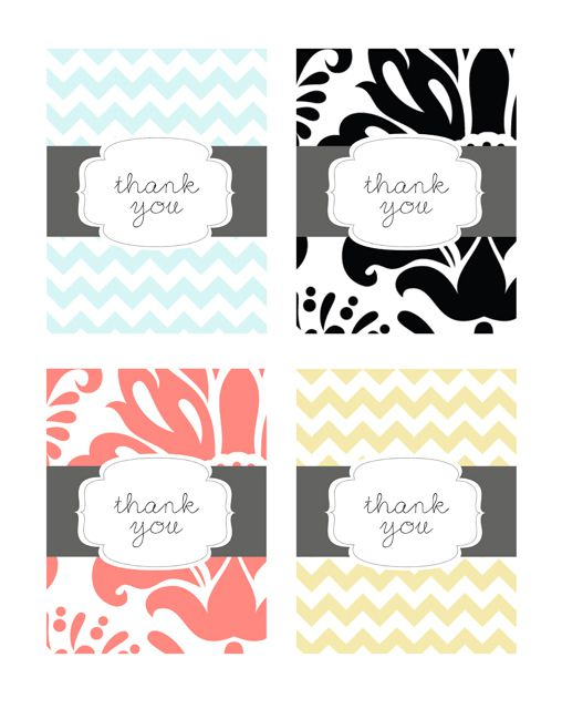 set of 4 free printable thank you cards by pumpkins posies