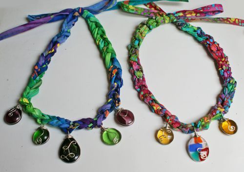 Fabric Crochet Necklaces With Wire-Wrapped Glass Pendants