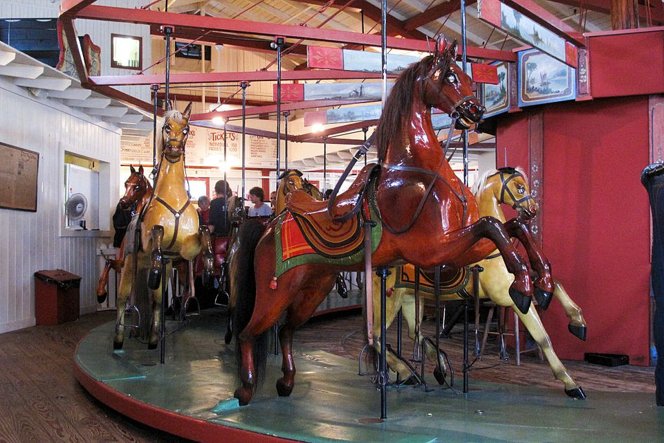 The Flying Horses Carousel in Oak Bluffs on the island of Martha's Vineyard is the oldest operating platform carousel in America. The carousel was built in 1876, and has horses with real horsehair manes and tales. Their oxide eyes each contained a tiny hand-carved animal - traditions carried over to the current horses.