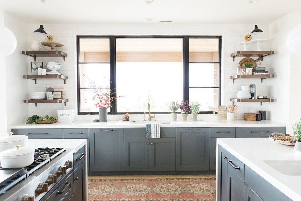 Grayish Blue Kitchen Cabinets Modern Window