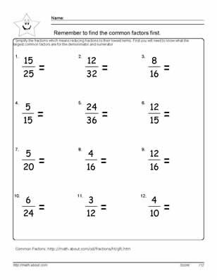 Image result for fraction simplification worksheet