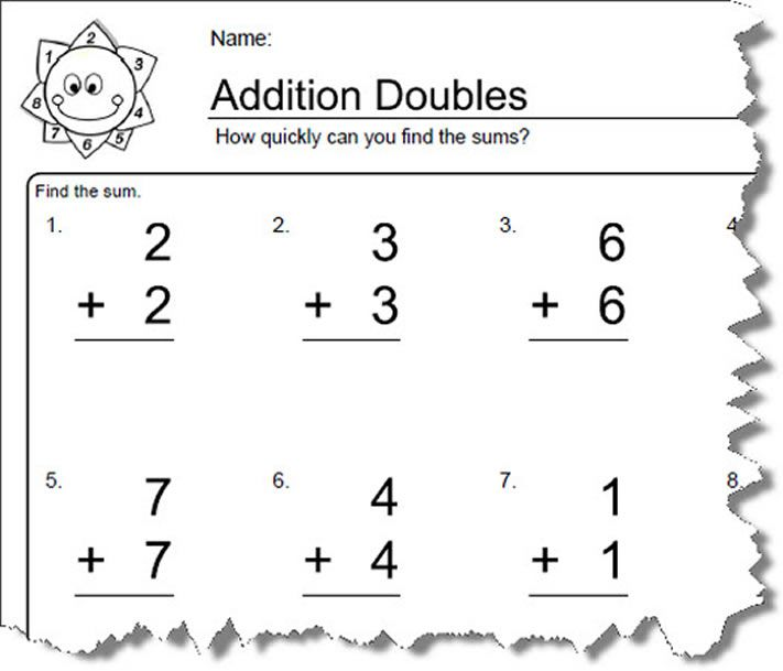 worksheets for elementary math doubles addition. Black Bedroom Furniture Sets. Home Design Ideas