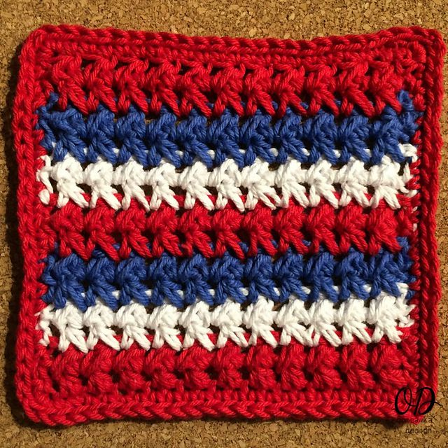 Red, White and Blue Crochet Dishcloth Free Pattern
