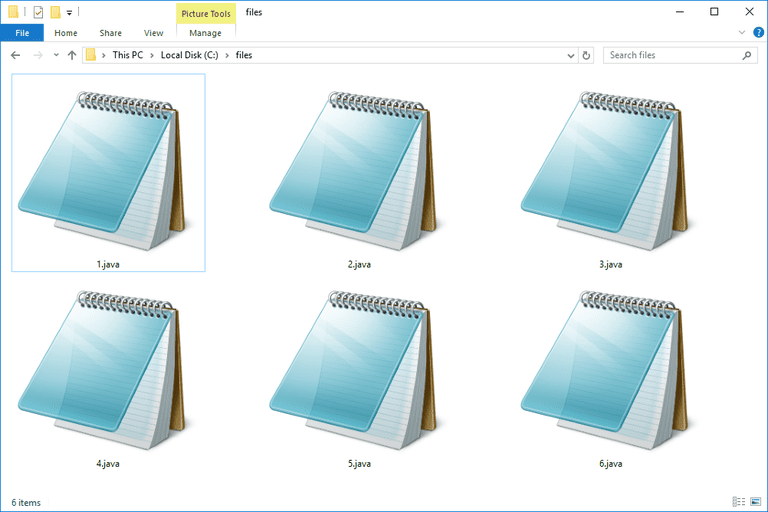 Screenshot of several JAVA files in Windows 10 that open with Notepad