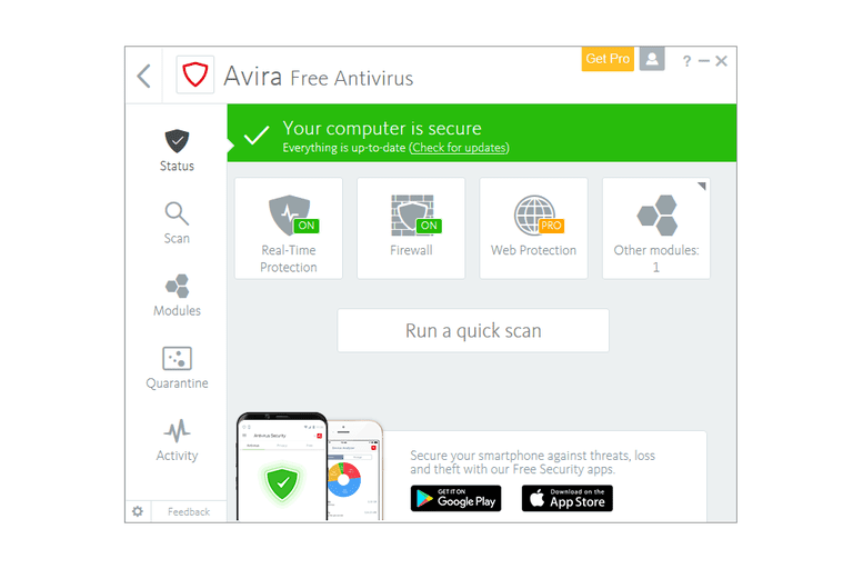 Screenshot of Avira Free Antivirus in Windows 10