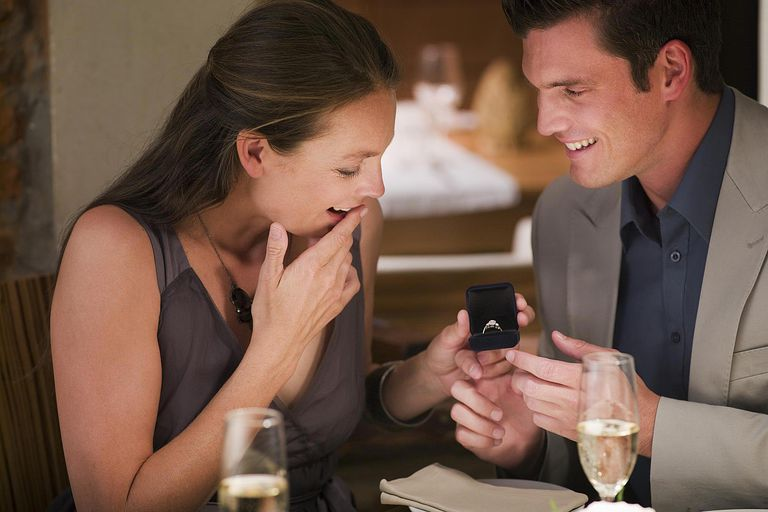 Man surprising woman with engagement ring at restaurant table