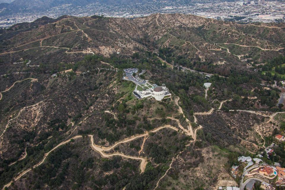 Aerial View of the Griffith Observatory in Griffith Park in Los Angeles, CA