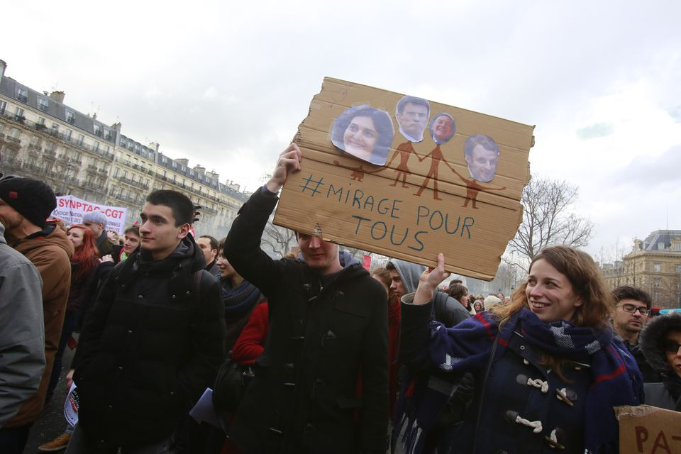 Workers strike on Place de la Republique in Paris in 2016, protesting against the prospect of relaxed labor laws